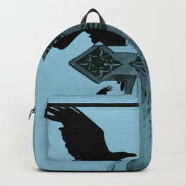Gothic Cross Headstone With Crows and Ravens Backpack