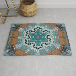 Aqua, Gold and Blue Tile 4 Rug