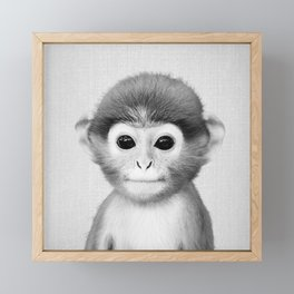 Baby Monkey - Black & White Framed Mini Art Print