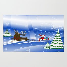 Santa Claus with christmas deer and presents Rug