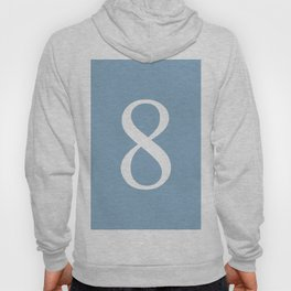 number eight sign on placid blue color background Hoody