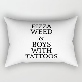 Pizza Weed and Boys with Tattoos Rectangular Pillow