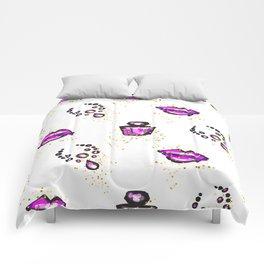 Purple lips with perfume Comforters