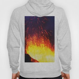 Eruption volcano - fountain, fireworks lava erupting from crater Hoody