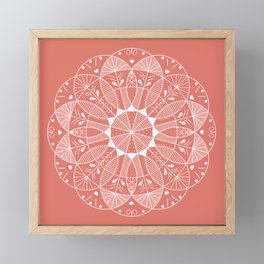 Living Coral Mandala-Pantone Color of the Year 2019 Framed Mini Art Print