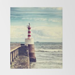 Amble Pier Lighthouse Throw Blanket