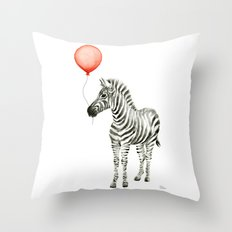 Baby Zebra Whimsical Animal with Red Balloon Nursery Art Throw Pillow