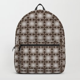 Shades of Brown | Abstract Flowers | Geometric Pattern | Brown and White | Backpack