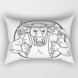 Longhorn Bull Holding Barbecue Sausage Drawing Black and White Rectangular Pillow