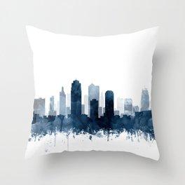 Kansas City Skyline Blue Watercolor by Zouzounio Art Throw Pillow
