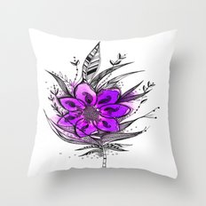 Purple Flower Feather Throw Pillow