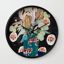 Dark Floral Still Life with Banksia Pods and Tigers Wall Clock