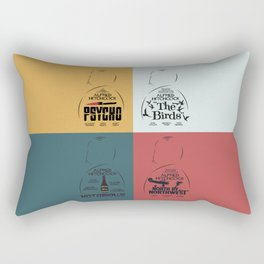 Four Hitchcock movie poster in one (Psycho, The Birds, North by Northwest, Notorious), cinema, cool Rectangular Pillow