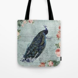 Vintage Victorian Peacock Bird and Roses Illustration Tote Bag