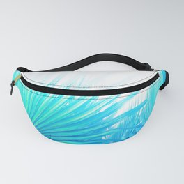 Solar Summer Fan Palms - Blue and Aqua Fanny Pack