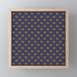 Mini Gold Crowns on Royal Blue Framed Mini Art Print