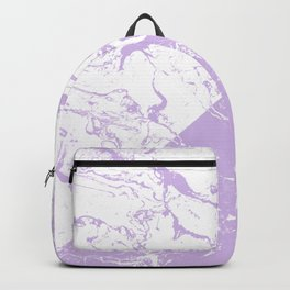 modern color block inverted white purple lavender marble pattern Backpack