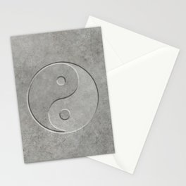 Yin and Yang Symbol embossed  concrete stone Stationery Cards