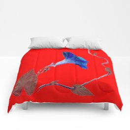 Red Color Blue Morning Glory Art Design Pattern Comforters