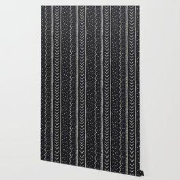 Moroccan Stripe in Black and White Wallpaper