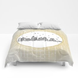 Atlanta, Georgia City Skyline Illustration Drawing Comforters