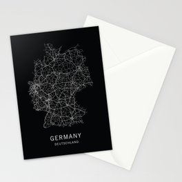 German Road Map Stationery Cards