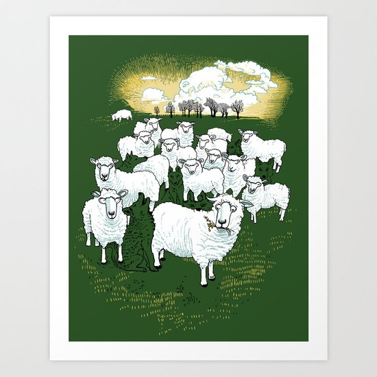 Hide & Sheep Art Print