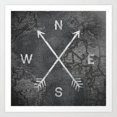 Compass (Map) Art Print