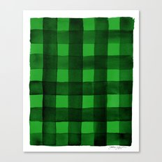 Buffalo Plaid Watercolor in Green Canvas Print