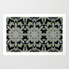 Mandala: Black White Green Flower Art Print
