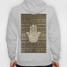 Faux Print Gold Hamsa Hand and Tribal Aztec Hoody