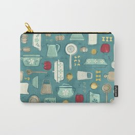 Vintage Kitchen Utensils / Teal Carry-All Pouch