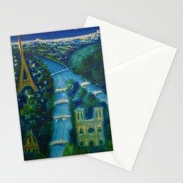 Villemot Paris at Night 'Air France' Vintage Trade Print Stationery Cards