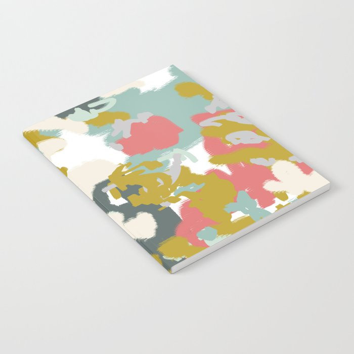 Rumor - Abstract painting, design pink mustard blue painterly design Notebook