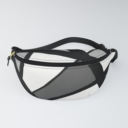 Geometric Line Abstract - Black Gray White Fanny Pack