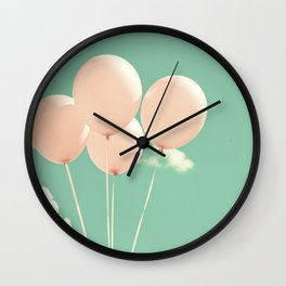 Fly Soft and High, Pink Balloons on Blue Pastel Sky  Wall Clock