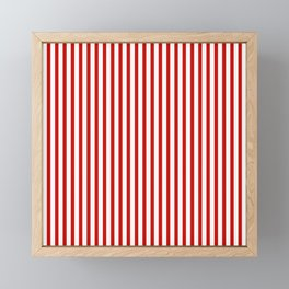 Red & White Maritime Vertical Small Stripes - Mix & Match with Simplicity of Life Framed Mini Art Print