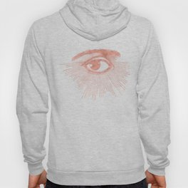 I see you. Rose Gold Pink Quartz on White Hoody