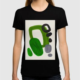 Minimalist Modern Mid Century Colorful Abstract Shapes Olive Green Retro Funky Shapes 60's Vintage T-shirt