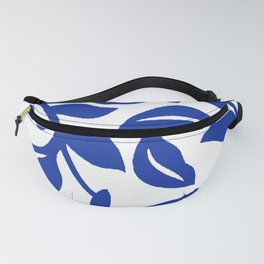 PALM LEAF VINE SWIRL BLUE AND WHITE PATTERN Fanny Pack