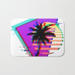Vaporwave Palm Sunset 80s 90s Glitch Aesthetic Bath Mat