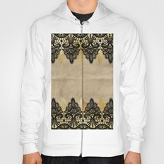 Elegance- Ornament black and gold lace on grunge paper backround Hoody