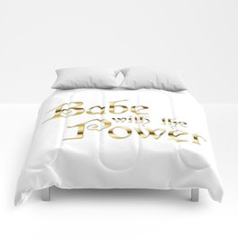 Labyrinth Babe With The Power (white bg) Comforters