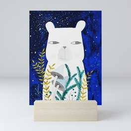 polar bear with botanical illustration in blue Mini Art Print