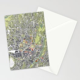 Munich city map engraving Stationery Cards