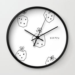 Happy Strawberries - black and white fruit illustration strawberry Wall Clock