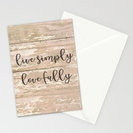 Live Simply Love Fully on Chipped Paint Stationery Cards