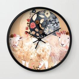 Celestial Sheep - Creme Wall Clock