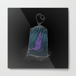 Purple whale in a plastic bag Metal Print
