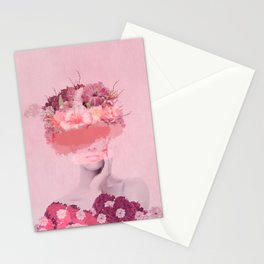 Woman in flowers Stationery Cards